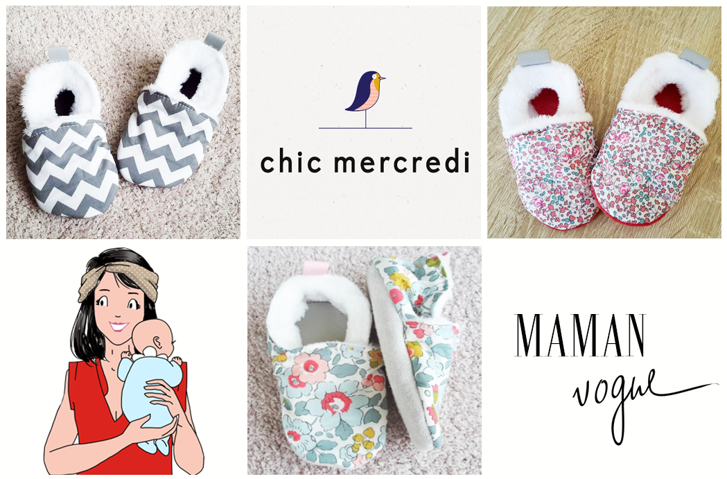 Chic Mercredi chaussons liberty betsy porcelaine
