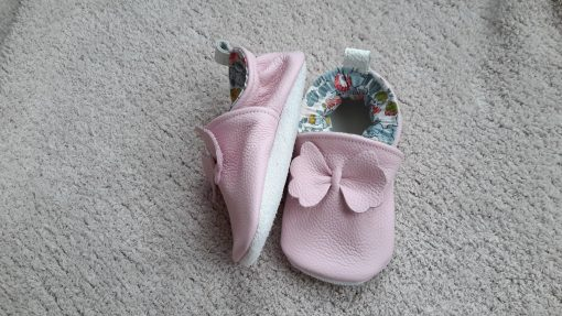 chaussons en liberty betsy et cuir rose
